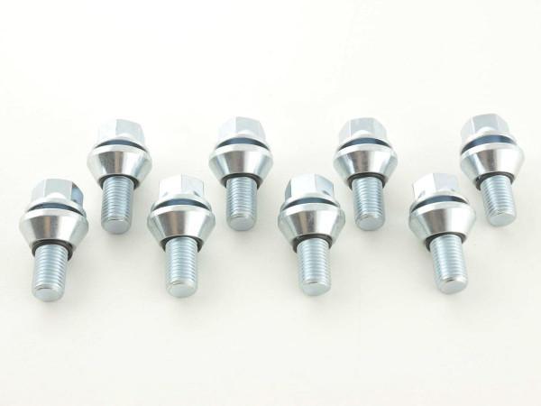 Wheel bolts Set (8 pieces), M14 x 1,5 21mm short head silver