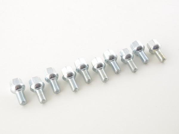 wheel bolts Set (10 pcs.) shaft length 21mm spherical collar silver M12x1,5