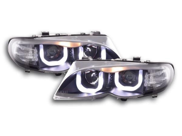 Angel Eye Headlight BMW serie 3 E46 saloon/Touring Yr. 02-05 black RHD