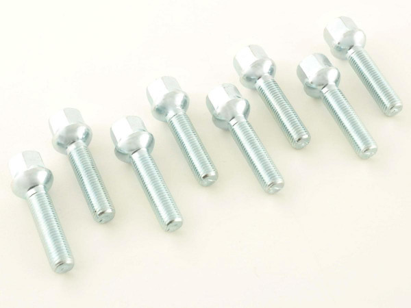 Wheel bolts Set (8 pieces), M12 x 1,5 50mm domed silver
