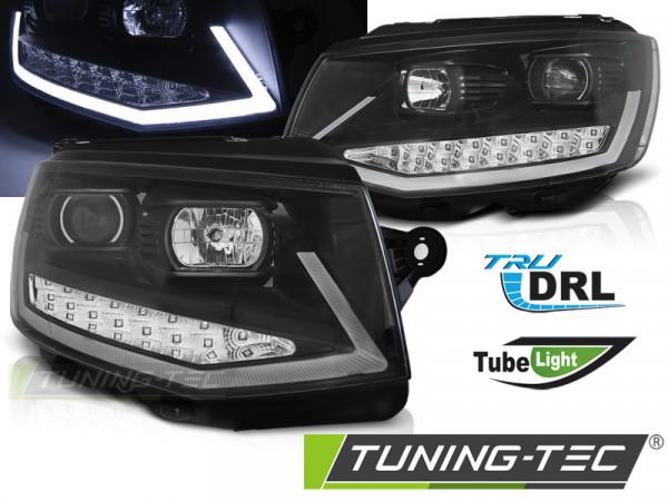 Headlights Tube Light Drl Black Chrome Fits Vw T6 15-19