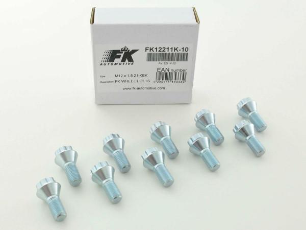 Wheel bolts Set (10 pieces), M12 x 1,5 21mm short head silver