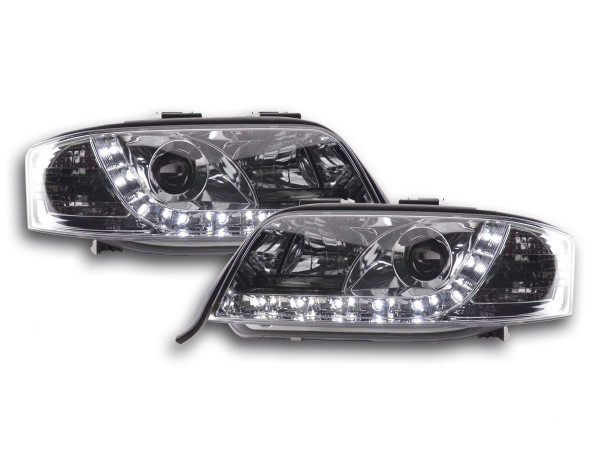 Daylight headlights with LED DRL look Audi A6 4B Yr. 97-01 chrome