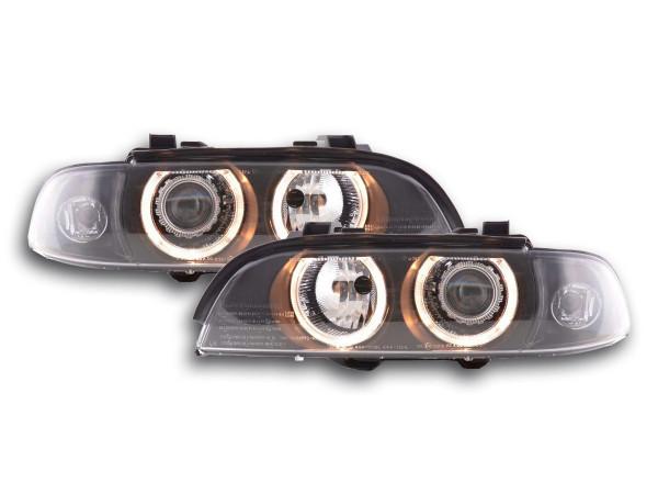 Headlight set xenon angel eyes BMW 5-series type E39 95-00 black