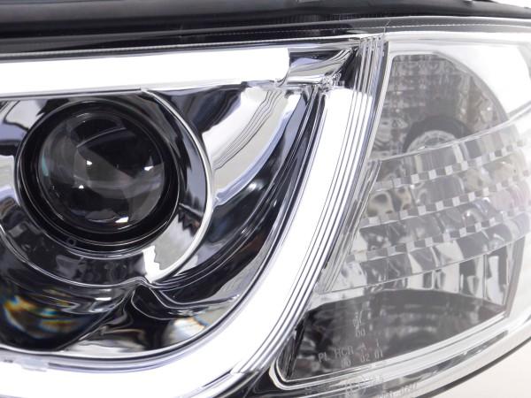 Daylight headlights with LED lightbar DRL look Audi A6 4B Yr. 97-01 chrome