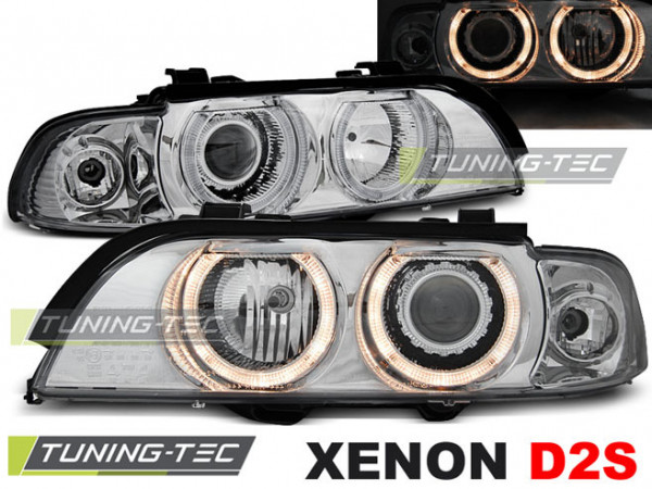 Xenon Headlights Angel Eyes Chrome Fits Bmw E39 09.95-06.03