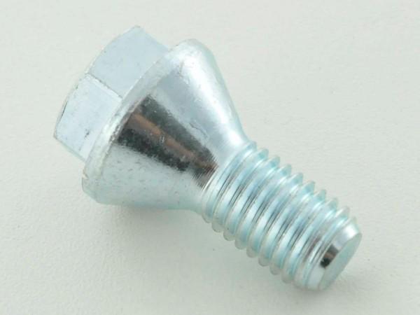 Wheel bolt, M12 x 1,75 26mm short head silver