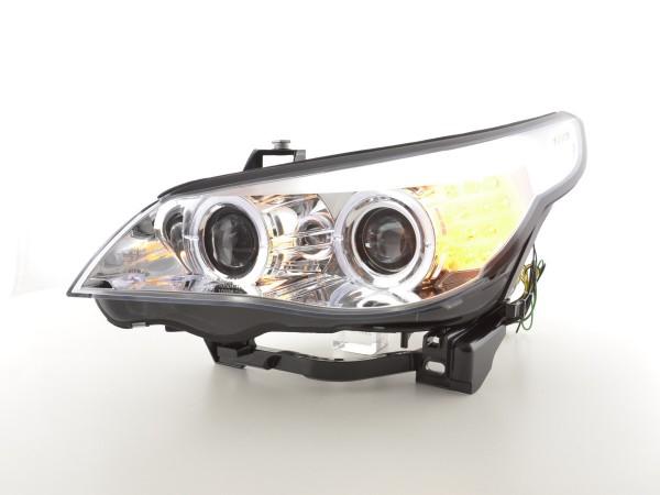 Angel Eye Headlight LED Xenon BMW serie 5 E60/E61 Yr. 05-08 chrome RHD