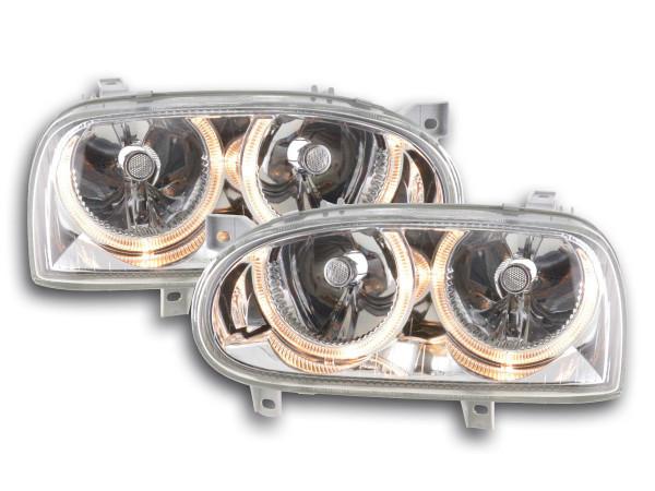 Angel Eye headlight VW Golf 3 type 1HXO, 1 EXO Yr. 91-97 chrome