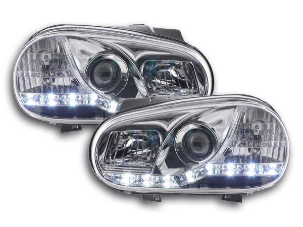 Daylight headlight VW Golf 4 type 1J Yr. 98-03 chrome RHD