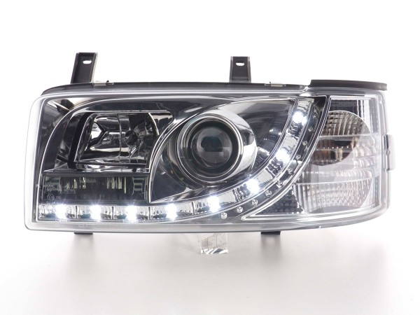 Daylight headlights with LED DRL look VW Bus T4 Yr. 90-03 chrome