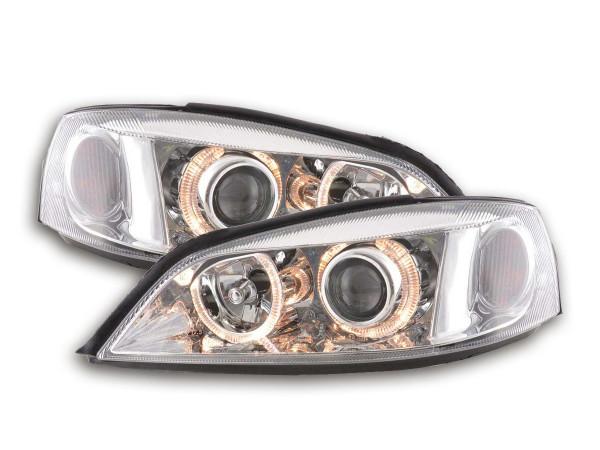 Angel Eye headlight Opel Astra G Yr. 98-03 chrome