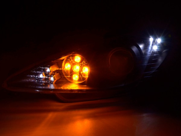 headlight Daylight Peugeot 206 Yr. 98-05 black