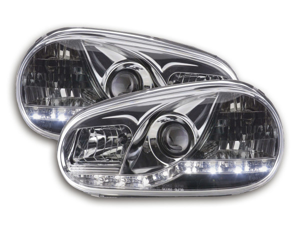 Daylight headlights with LED DRL look VW Golf 4 type 1J Yr. 98-03 chrome