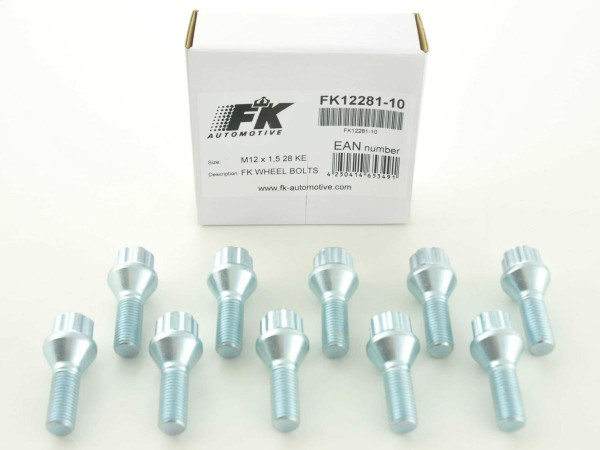 Wheel bolts Set (10 pieces), M12 x 1,25 35mm domed silver