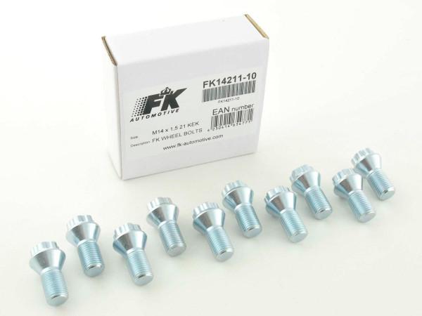 wheel bolts Set (10 pcs.) shaft length 21mm taper flange silver M14x1,5