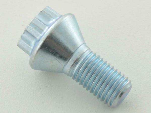 single Wheel bolt shaft length 21mm taper flange shorthead silver M12x1,5
