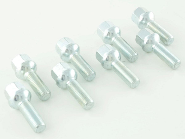Wheel bolts Set (8 pieces), M12 x 1,5 28mm domed silver