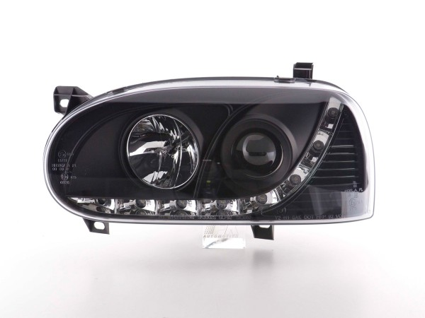Daylight headlight VW Golf 3 type 1HXO 1EXO Yr. 91-97 black
