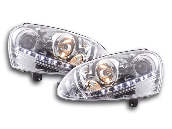 Daylight headlight VW Golf 5 type 1K Yr. 03-08 chrome RHD