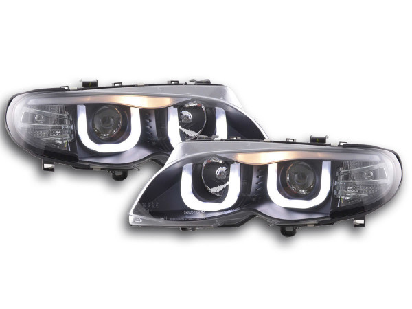 Daylight headlights with LED DRL look BMW 3er E46 saloon Yr. 02-05 black