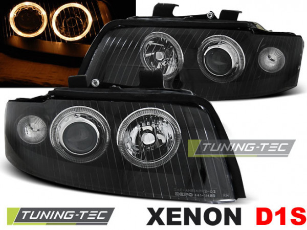 Xenon Headlights Angel Eyes Black Fits Audi A4 10.00-10.04