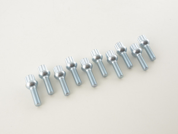 Wheel bolts Set (10 pieces), M12 x 1,5 35mm domed silver