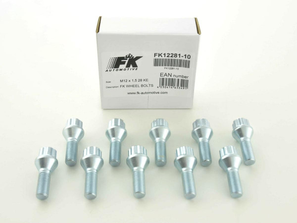 Wheel bolts Set (8 pieces), M12 x 1,25 45mm domed silver