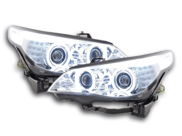 Headlight Angel Eyes CCFL Xenon BMW serie 5 E60/E61 Yr. 03-04 chrome RHD