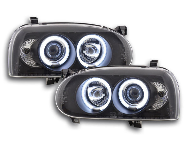 Angel Eye headlight CCFL VW Golf 3 Yr. 92-98 black