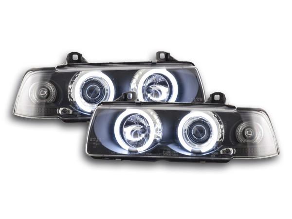 Angel Eye headlight CCFL BMW serie 3 E36 saloon Yr. 92-98 black