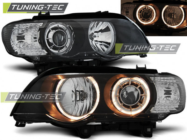 Headlights Angel Eyes Black Fits Bmw X5 E53 09.99-10.03
