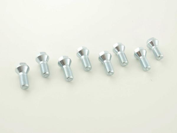 single Wheel bolt shaft length 26mm taper flange shorthead silver M12x1,5
