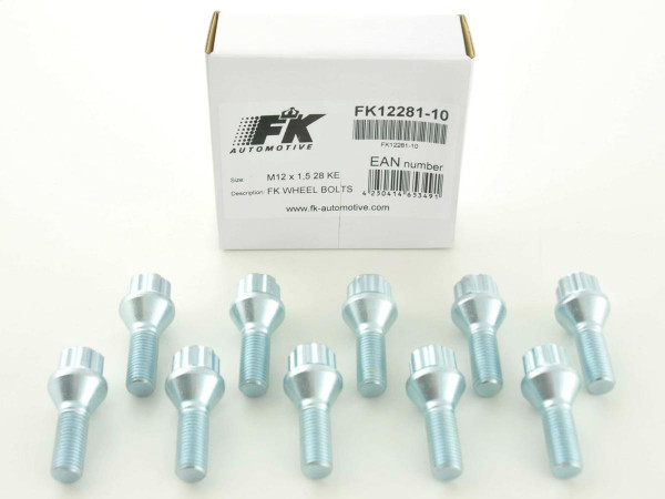 Wheel bolts Set (10 pieces), M12 x 1,25 27mm domed silver