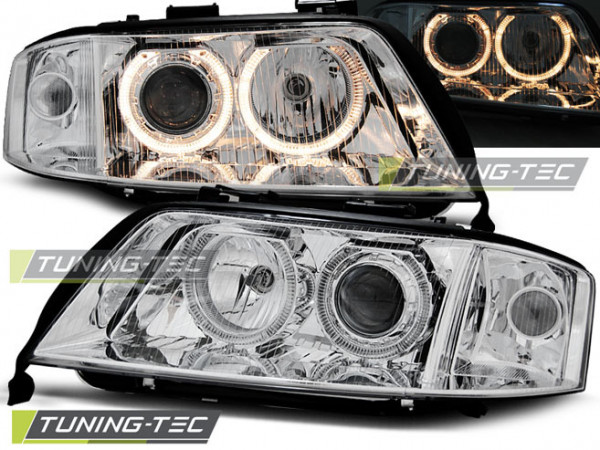 Headlights Angel Eyes Chrome Fits Audi A6 05.97-06.01