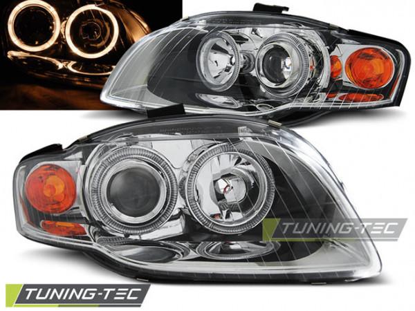 Headlights Angel Eyes Chrome Fits Audi A4 B7 11.04-03.08