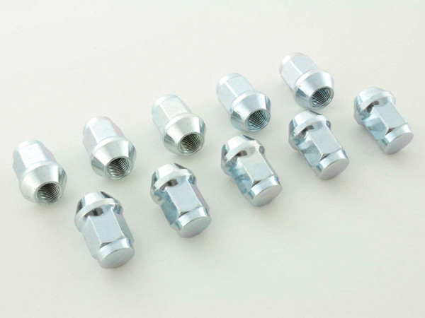 Wheel bolts Set (10 pieces), M12 x 1,5 55mm domed silver
