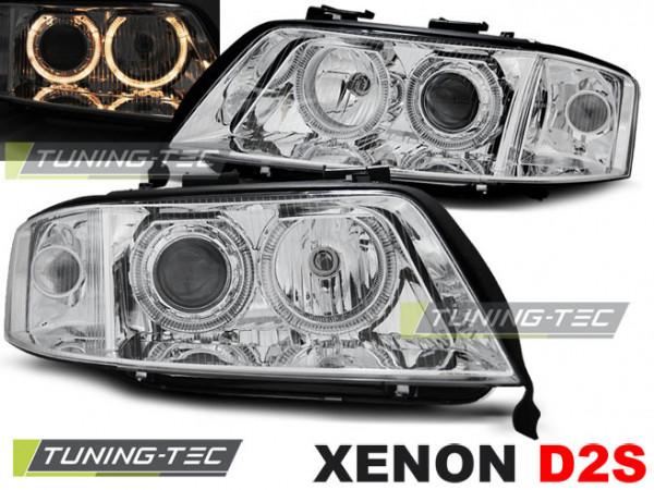 Xenon Headlights Angel Eyes Chrome Fits Audi A6 06.01-05.04