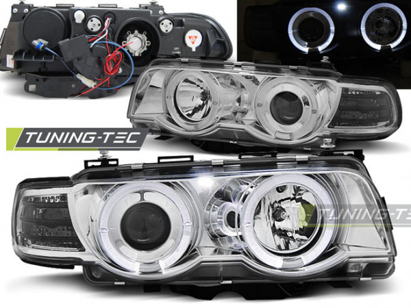 Xenon Headlights Angel Eyes Chrome Fits Bmw E38 09.98-07.01