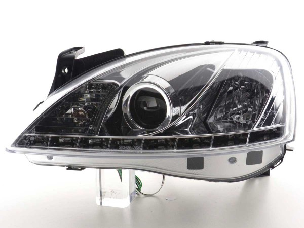 Daylight headlight Opel Corsa C Yr. 01-06 chrome
