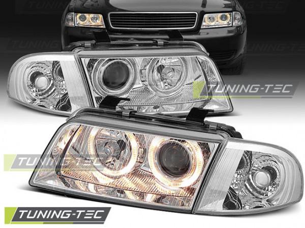 Headlights Angel Eyes Chrome Fits Audi A4 11.94-12.98